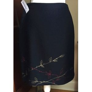 Ann Taylor LOFT Black Wool Lined Pencil Skirt Sz 4